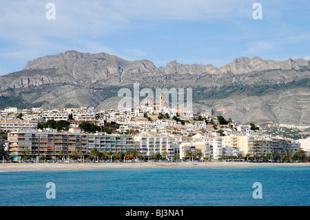 Shore, church, Altea, Costa Blanca, Alicante province, Spain, Europe - Stock Photo