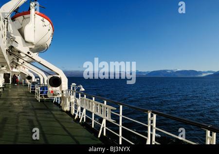 Cruise North Cruiseship Lyubov Orlova cruising along Baffin Island, Northwest Passage, Nunavut, Canada, Arctic - Stock Photo