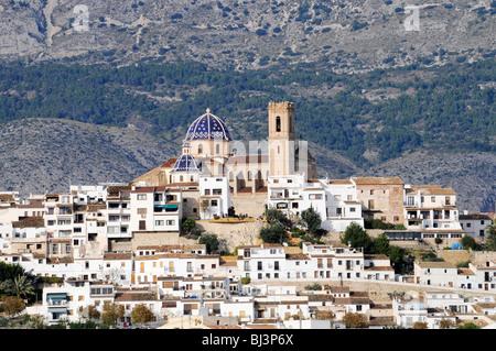 Virgen del Consuelo, Iglesia de Nuestra Senora del Consuelo church, landmark, old town, Altea, Costa Blanca, Alicante - Stock Photo