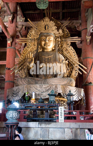 Japan, Nara, Todai-ji temple. Niyorin Kannon Bosatsu statue in the Daibutsuden, great Buddha hall - Stock Photo