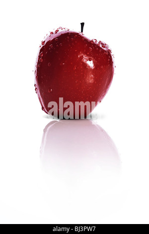 fresh red apple isolated over white background - Stock Photo
