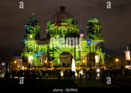 Berlin Cathedral during the Festival of Lights 2007, Berlin, Germany - Stock Photo