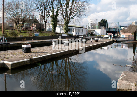 St Pancras Lock on Regents Canal, Kings Cross, London, UK - Stock Photo
