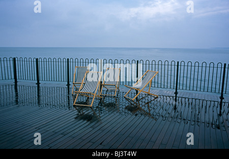 Four water-logged deckchairs have been abandoned on a wet Brighton's East Pier in East Sussex.