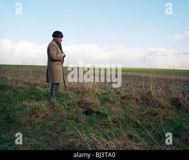 Brigadier Arthur Valerian Wellesley, the 8th Duke of Wellington, stands on the Waterloo battlefield near Hougemont - Stock Photo
