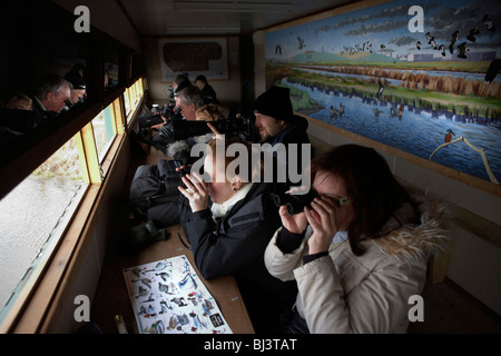 A group of bird-spotting ornithologists peer through binoculars in an  (RSPB) reserve hide at Rainham Marshes. - Stock Photo