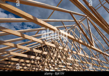 Prefabricated Timber Roof Trusses On Building Site