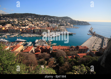 Port, seen from the castle hill, on the right parking space for the ferry to Corsica, Nice, Alpes Maritimes, Région - Stock Photo