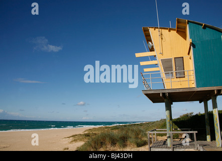 Lifeguard hut on the beach at Lakes Entrance, Victoria, Australia - Stock Photo