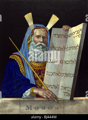Colour lithograph print circa 1874 by Henry Schile depicting Moses holding a tablet inscribed with the Ten Commandments. - Stock Photo