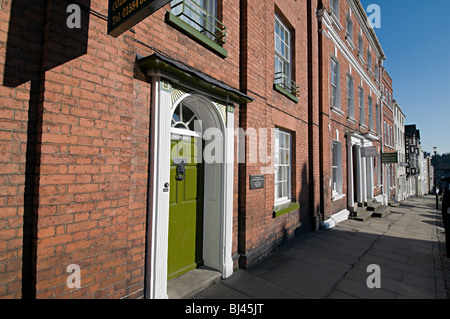 terraced houses in the center of the picturesque town of Ludlow Shropshire - Stock Photo