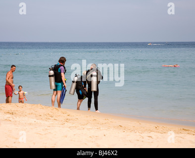 Divers on Karon Beach - Phuket - Stock Photo