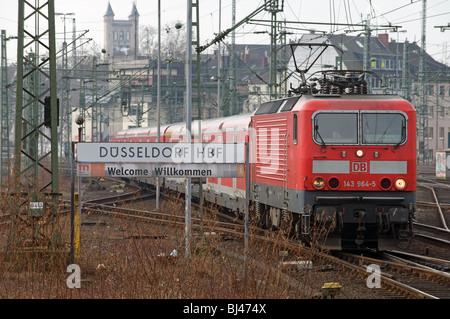 Local suburban passenger train arriving at Dusseldorf central railway station.