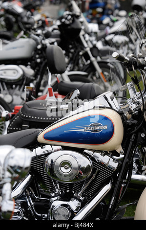 Rows of parked bikes at a Harley Davidson motorbike rally in Weston-Super-Mare UK - Stock Photo