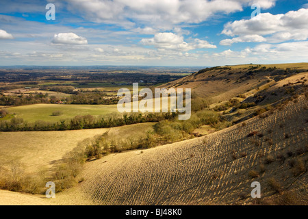 View from Ditchling Beacon looking toward the South Downs ridge - Stock Photo
