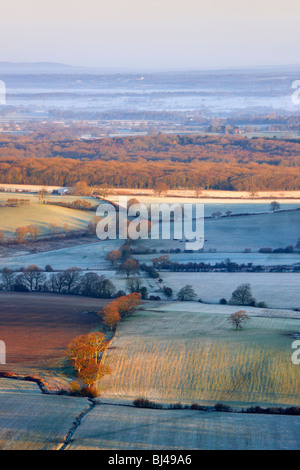 View from Devils Dyke looking northward over the Sussex landscape - Stock Photo