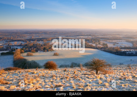 Looking northward on a frosty spring morning from the summit of Ditchling Beacon South Downs - Stock Photo
