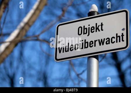 Sign 'Objekt videoueberwacht', CCTV used here - Stock Photo