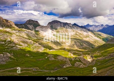 French alps mountain landscape - Route de la Bonette in the Alpes Maritimes, Provence, France - Stock Photo