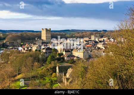 Richmond Castle and town on the edge of the Yorkshire Dales, North Yorkshire England UK - Stock Photo