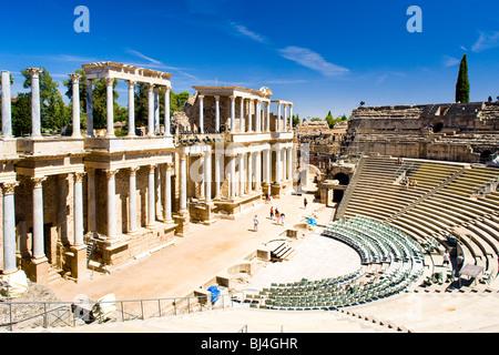 Roman Theatre, Merida, Badajoz Province, Extremadura, Spain - Stock Photo