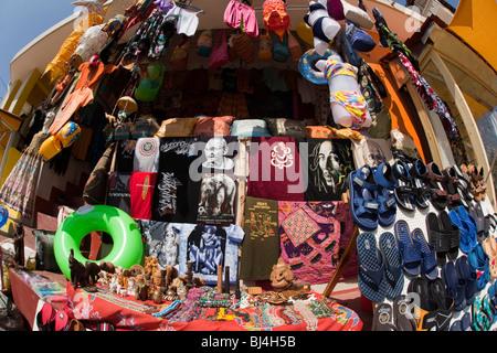 India, Kerala, Kovalam, Lighhouse Beach, seafront, tourist souvenir shop display - Stock Photo