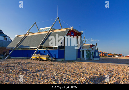 RNLI Lifeboat Station on the beach at Aldeburgh Suffolk  East Anglia UK - Stock Photo