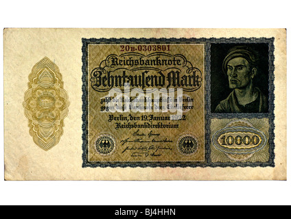 Front of a Reichsbanknote bill of the Central Bank over ten thousand marks, Berlin, board of the Central Bank of - Stock Photo