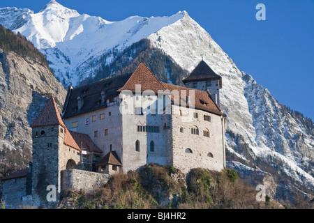 Burg Gutenberg castle in the Rhine Valley in Liechtenstein, Europe - Stock Photo