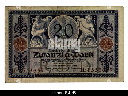 Front of a Reichsbanknote bill of the Central Bank over 20 marks, Berlin, board of the Central Bank of Germany, - Stock Photo