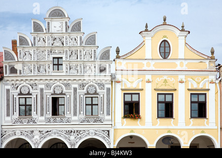 Close-up of gable facade of city houses with arcade on square in Telc, Bohemia - Czech Republic. UNESCO protected - Stock Photo