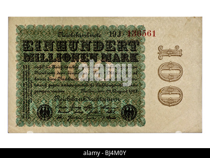Front of a Reichsbanknote bill of the Central Bank over 100 million marks, Berlin, Germany, August 22nd 1923 - Stock Photo