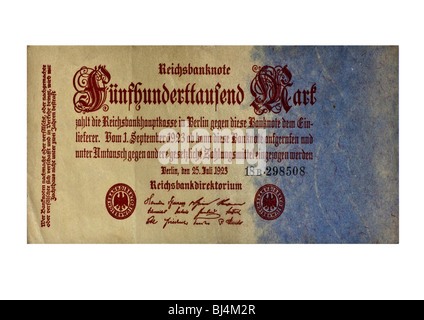 Front of a Reichsbanknote bill of the Central Bank over 500, 000 marks, Berlin, Germany, July 25th 1923 - Stock Photo