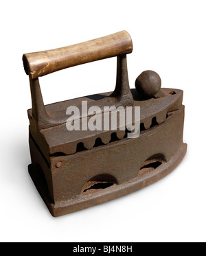 Stock photo of a Very old vintage antique heavy iron still life Isolated silhouette on white background with a clipping - Stock Photo