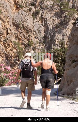 Injured tourists in the Samaria Gorge in Agia Roumeli, Crete, Greece, Europe - Stock Photo