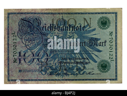 Front of a Reichsbanknote bill of the Central Bank over one hundred marks, Berlin, board of the Central Bank of - Stock Photo