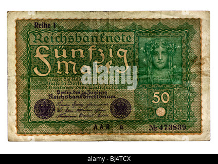 Front of a Reichsbanknote bill of the Central Bank over 50 marks, Berlin, Germany, June 24th 1919 - Stock Photo