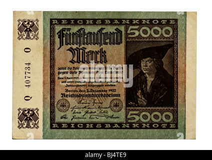 Front of a Reichsbanknote bill of the Central Bank over 5, 000 marks, board of the Central Bank of Germany, Berlin, - Stock Photo