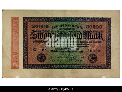 Front of a Reichsbanknote bill of the Central Bank from July 1st 1923 over 20, 000 marks, Central Bank of Germany, - Stock Photo