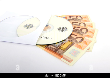 CD, bills, 50 euro notes, bank notes, symbolic image for illegal trade with tax data, customer data, banking information, - Stock Photo