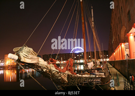 Tall Ship at Night In The Albert Dock, Liverpool, Merseyside, UK - Stock Photo