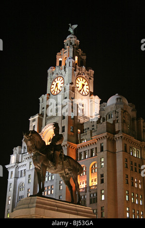 The Royal Liver Building At Night, Pier Head Liverpool, Merseyside, UK - Stock Photo