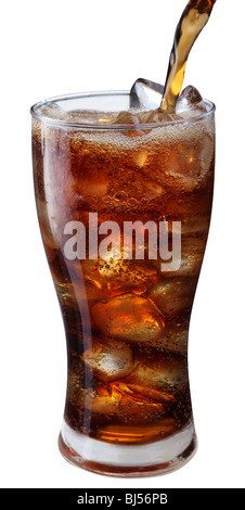 Pouring of cola in the glass with ice - Stock Photo