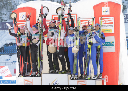 The winners of the FIS World Cup Cross Country, Ladies 4 x 5 km Classic/Free Relay competition in Lahti - Stock Photo