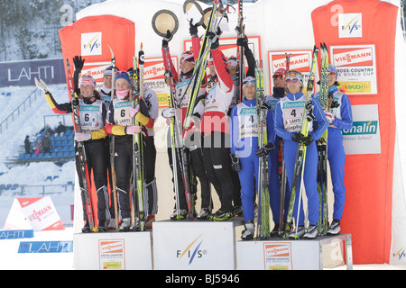 MARCH 7 LAHTI, FINLAND. The winners of the FIS World Cup Cross Country, Ladies 4 x 5 km Classic/Free Relay competition - Stock Photo