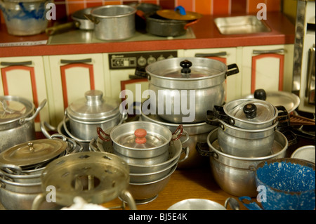 Vintage toy kitchen - Stock Photo