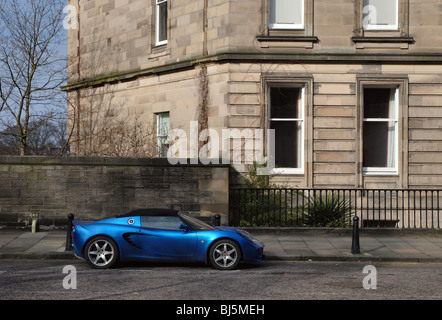 Blue Lotus Elise parked in Edinburgh's West End. - Stock Photo