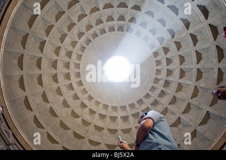 View at the Oculus in the Pantheons cuppola, Rome, Italy - Stock Photo