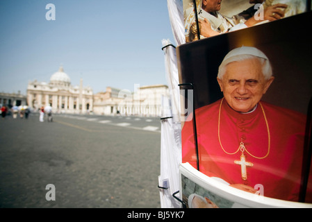 Postcard stand with Saint Peter's Basilica in the background, Vatican City, Vatican State - Stock Photo