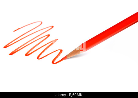Red pencil with line over white background - Stock Photo